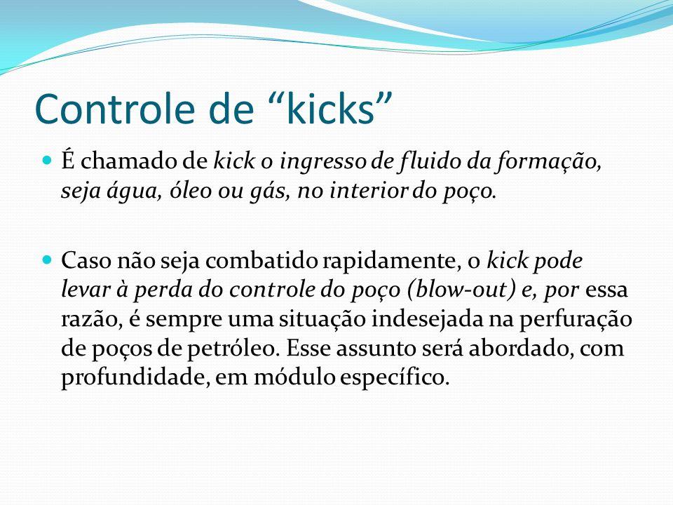 Controle de kicks É chamado de kick o ingresso de fluido da formação, seja água, óleo ou gás, no interior do poço. Caso não seja combatido rapidamente
