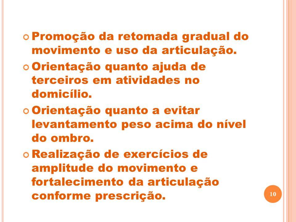 Promoção da retomada gradual do movimento e uso da articulação. Orientação quanto ajuda de terceiros em atividades no domicílio. Orientação quanto a e