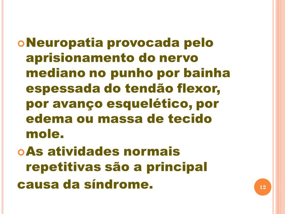 Neuropatia provocada pelo aprisionamento do nervo mediano no punho por bainha espessada do tendão flexor, por avanço esquelético, por edema ou massa d