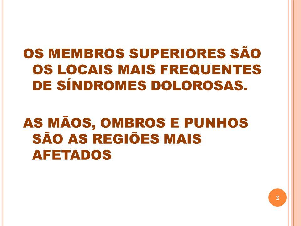 OS MEMBROS SUPERIORES SÃO OS LOCAIS MAIS FREQUENTES DE SÍNDROMES DOLOROSAS. AS MÃOS, OMBROS E PUNHOS SÃO AS REGIÕES MAIS AFETADOS 2