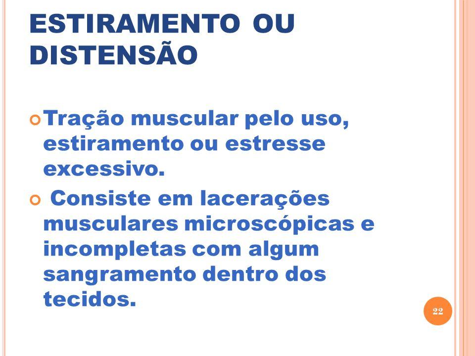 ESTIRAMENTO OU DISTENSÃO Tração muscular pelo uso, estiramento ou estresse excessivo. Consiste em lacerações musculares microscópicas e incompletas co