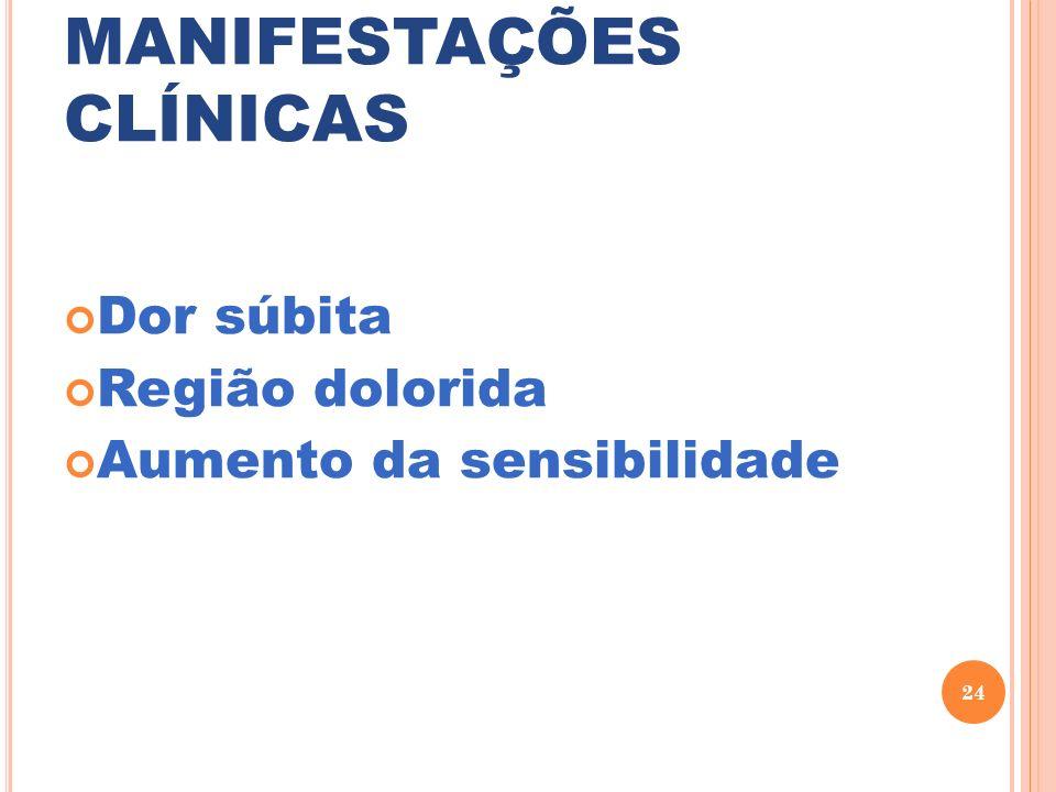 MANIFESTAÇÕES CLÍNICAS Dor súbita Região dolorida Aumento da sensibilidade 24