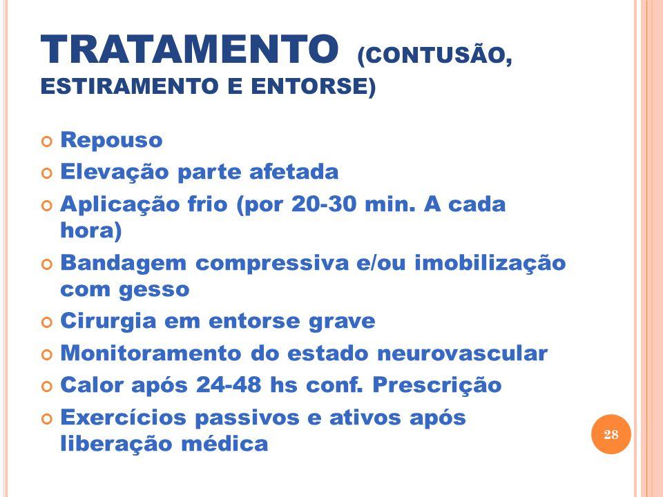 TRATAMENTO (CONTUSÃO, ESTIRAMENTO E ENTORSE) Repouso Elevação parte afetada Aplicação frio (por 20-30 min. A cada hora) Bandagem compressiva e/ou imob