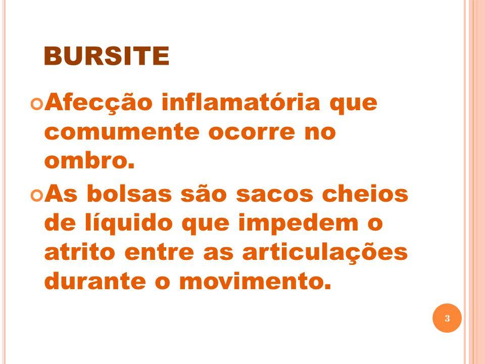 BURSITE Afecção inflamatória que comumente ocorre no ombro. As bolsas são sacos cheios de líquido que impedem o atrito entre as articulações durante o