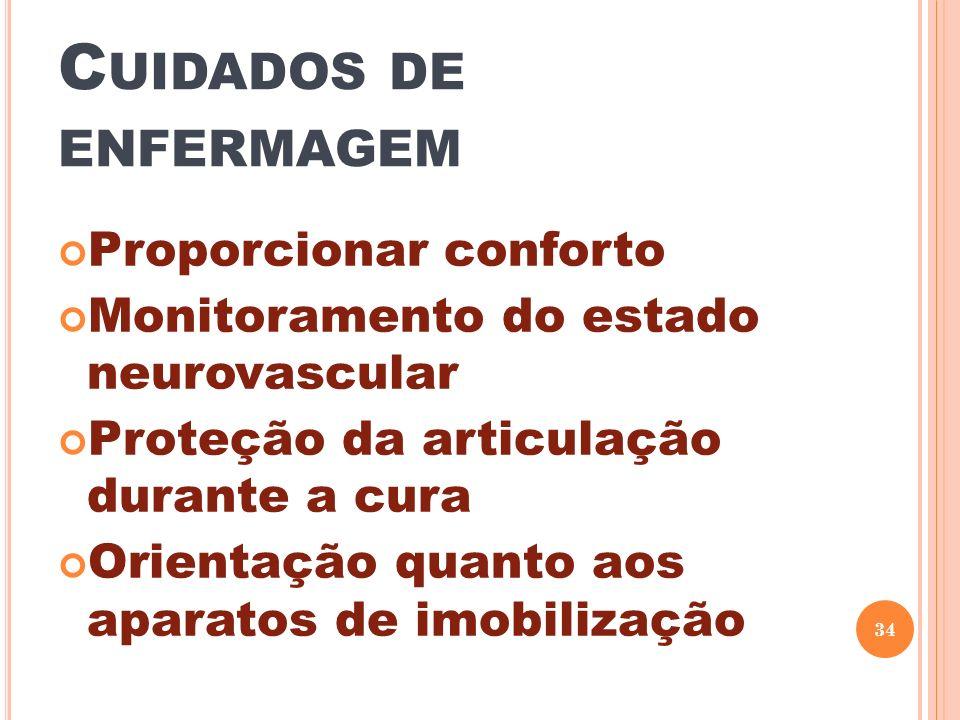 C UIDADOS DE ENFERMAGEM Proporcionar conforto Monitoramento do estado neurovascular Proteção da articulação durante a cura Orientação quanto aos apara