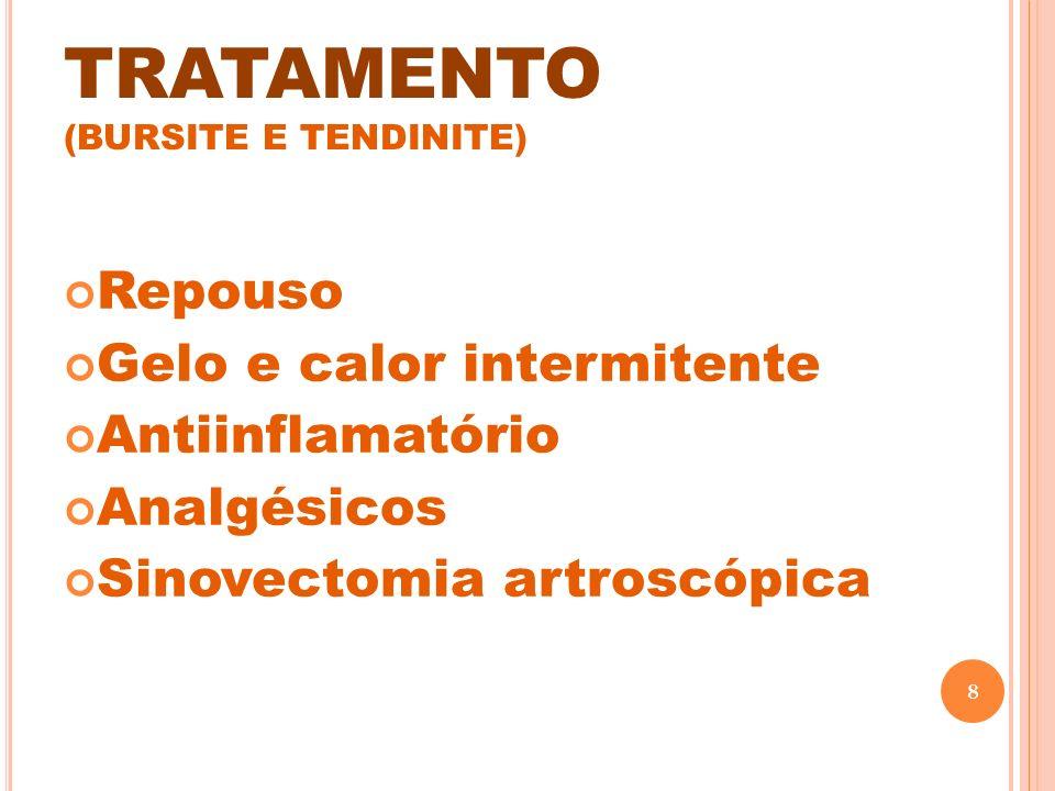 TRATAMENTO (BURSITE E TENDINITE) Repouso Gelo e calor intermitente Antiinflamatório Analgésicos Sinovectomia artroscópica 8
