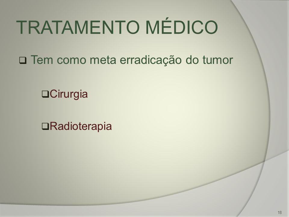 TRATAMENTO MÉDICO Tem como meta erradicação do tumor Cirurgia Radioterapia 18