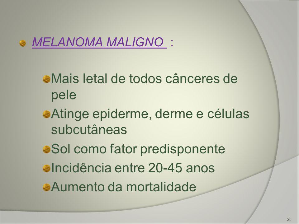MELANOMA MALIGNO : Mais letal de todos cânceres de pele Atinge epiderme, derme e células subcutâneas Sol como fator predisponente Incidência entre 20-