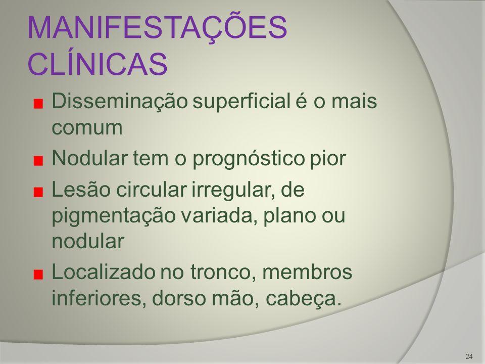 MANIFESTAÇÕES CLÍNICAS Disseminação superficial é o mais comum Nodular tem o prognóstico pior Lesão circular irregular, de pigmentação variada, plano