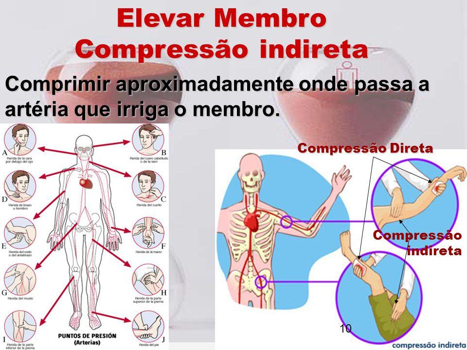 Elevar Membro Compressão indireta Comprimir aproximadamente onde passa a artéria que irriga o membro. Compressão Direta Compressão indireta 10