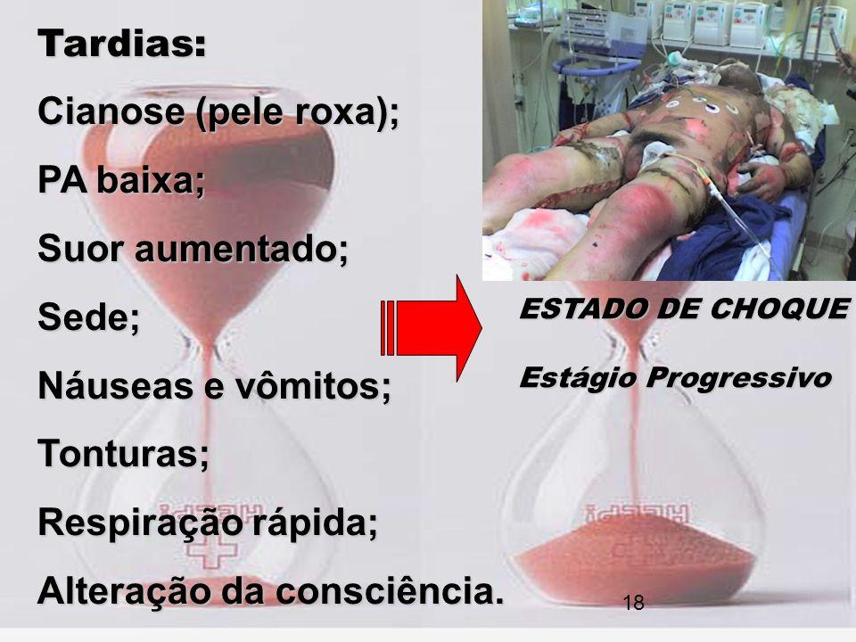 Tardias: Cianose (pele roxa); PA baixa; Suor aumentado; Sede; Náuseas e vômitos; Tonturas; Respiração rápida; Alteração da consciência. ESTADO DE CHOQ