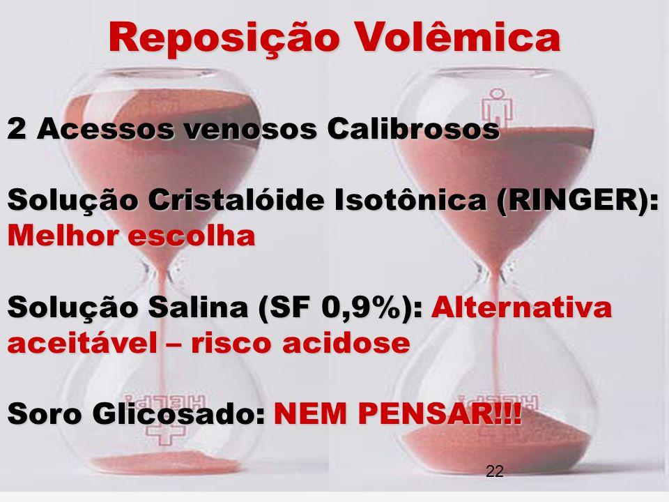 Reposição Volêmica 2 Acessos venosos Calibrosos Solução Cristalóide Isotônica (RINGER): Melhor escolha Solução Salina (SF 0,9%): Alternativa aceitável
