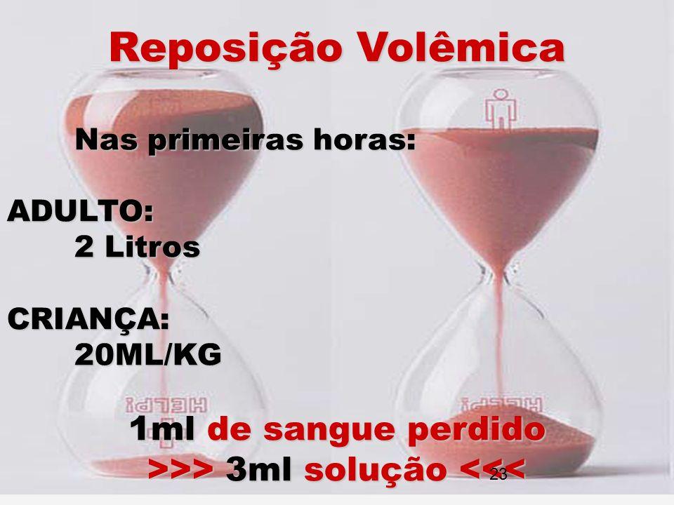 Reposição Volêmica Nas primeiras horas: ADULTO: 2 Litros CRIANÇA:20ML/KG 1ml de sangue perdido >>> 3ml solução >> 3ml solução <<< 23