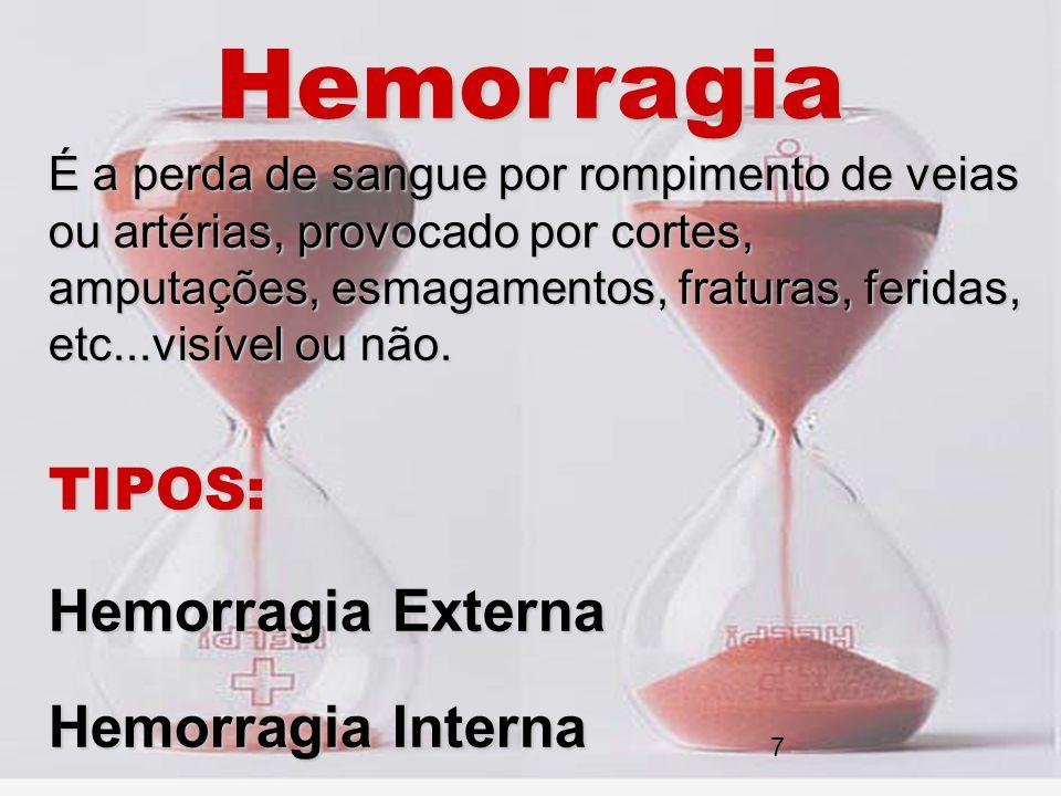 Hemorragia É a perda de sangue por rompimento de veias ou artérias, provocado por cortes, amputações, esmagamentos, fraturas, feridas, etc...visível o