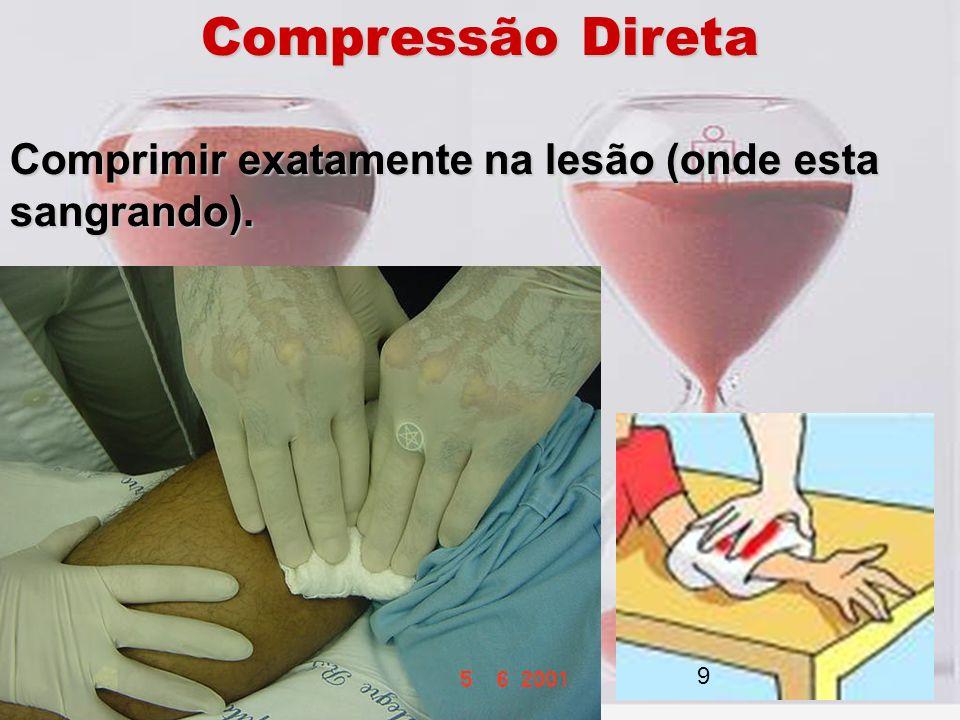 Compressão Direta Comprimir exatamente na lesão (onde esta sangrando). 9