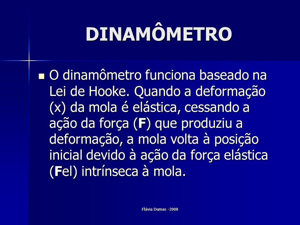 DINAMÔMETRO O dinamômetro funciona baseado na Lei de Hooke. Quando a deformação (x) da mola é elástica, cessando a ação da força (F) que produziu a de