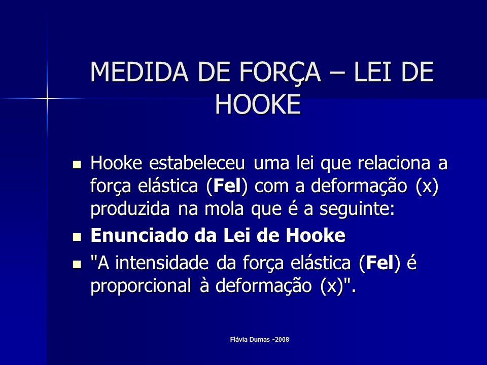Flávia Dumas -2008 MEDIDA DE FORÇA – LEI DE HOOKE MEDIDA DE FORÇA – LEI DE HOOKE Hooke estabeleceu uma lei que relaciona a força elástica (Fel) com a