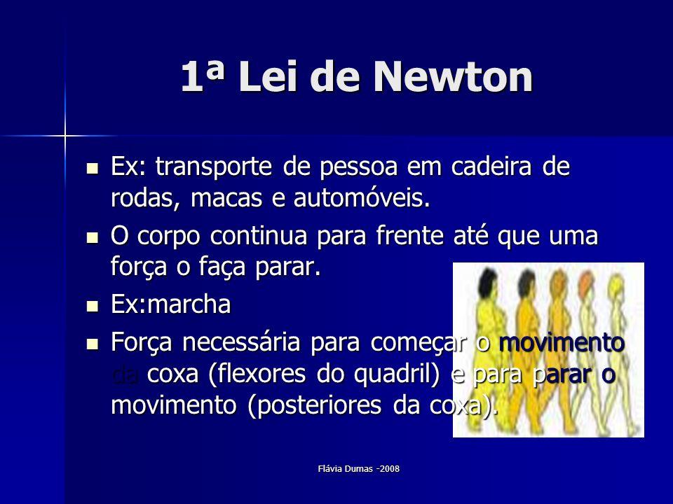 Flávia Dumas -2008 1ª Lei de Newton Ex: transporte de pessoa em cadeira de rodas, macas e automóveis. Ex: transporte de pessoa em cadeira de rodas, ma