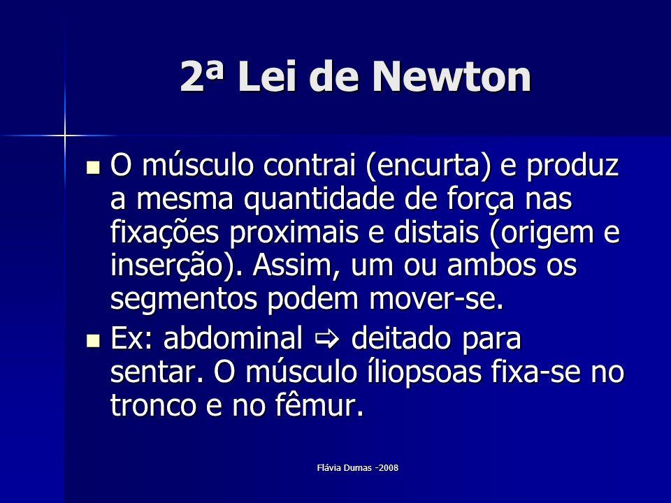 Flávia Dumas -2008 2ª Lei de Newton O músculo contrai (encurta) e produz a mesma quantidade de força nas fixações proximais e distais (origem e inserç
