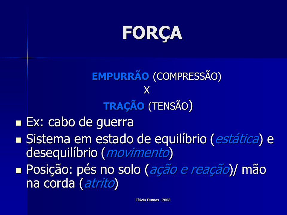 Flávia Dumas -2008 FORÇA EMPURRÃO (COMPRESSÃO) EMPURRÃO (COMPRESSÃO)X TRAÇÃO (TENSÃO ) TRAÇÃO (TENSÃO ) Ex: cabo de guerra Ex: cabo de guerra Sistema
