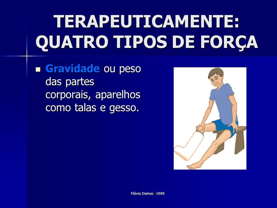 Flávia Dumas -2008 TERAPEUTICAMENTE: QUATRO TIPOS DE FORÇA Gravidade ou peso das partes corporais, aparelhos como talas e gesso. Gravidade ou peso das