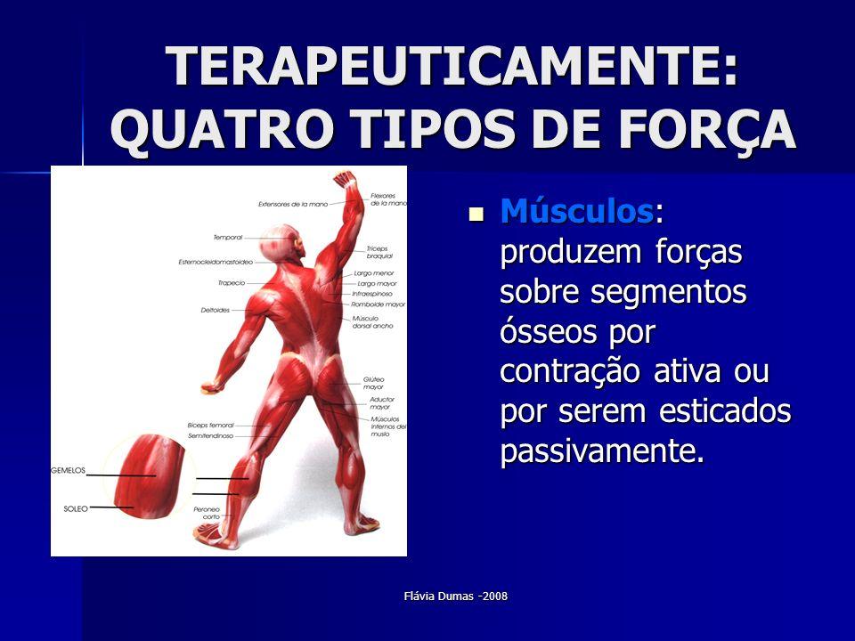 Flávia Dumas -2008 TERAPEUTICAMENTE: QUATRO TIPOS DE FORÇA Músculos: produzem forças sobre segmentos ósseos por contração ativa ou por serem esticados