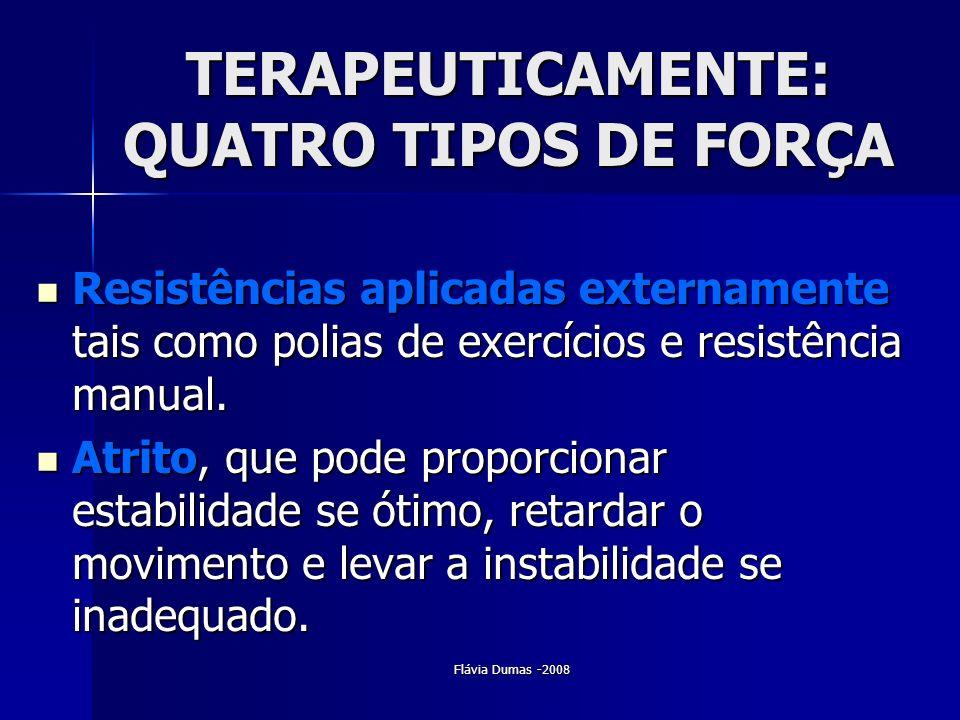 Flávia Dumas -2008 TERAPEUTICAMENTE: QUATRO TIPOS DE FORÇA Resistências aplicadas externamente tais como polias de exercícios e resistência manual. Re