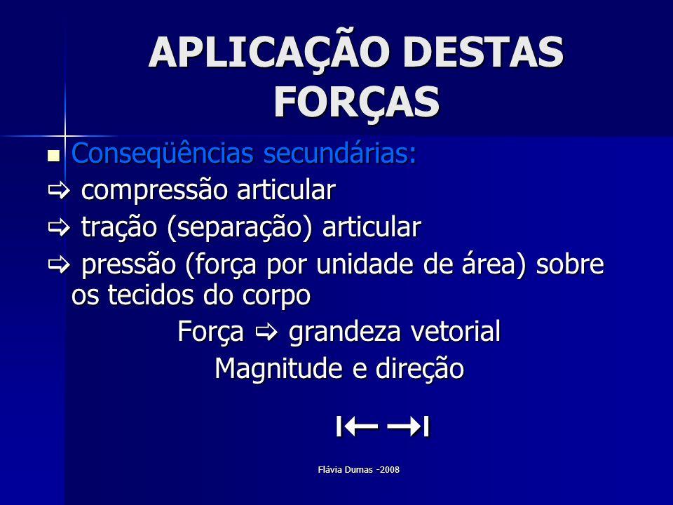 Flávia Dumas -2008 APLICAÇÃO DESTAS FORÇAS Conseqüências secundárias: Conseqüências secundárias: compressão articular compressão articular tração (sep