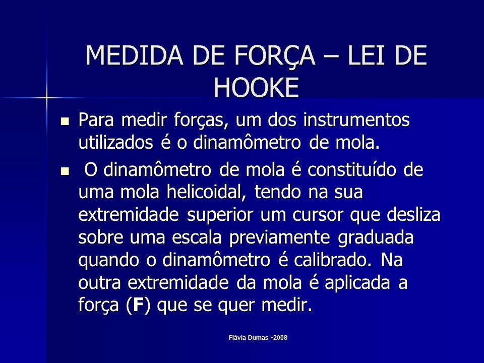 Flávia Dumas -2008 MEDIDA DE FORÇA – LEI DE HOOKE Para medir forças, um dos instrumentos utilizados é o dinamômetro de mola. Para medir forças, um dos