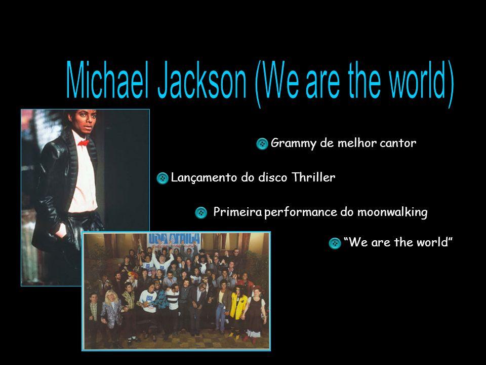 Grammy de melhor cantor Lançamento do disco Thriller Primeira performance do moonwalking We are the world