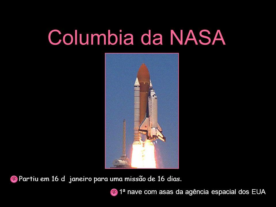 Columbia da NASA Partiu em 16 d janeiro para uma missão de 16 dias. 1ª nave com asas da agência espacial dos EUA