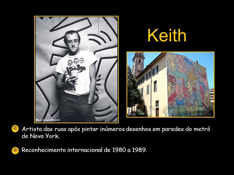 Artista das ruas após pintar inúmeros desenhos em paredes do metrô de Nova York. Reconhecimento internacional de 1980 a 1989. Keith