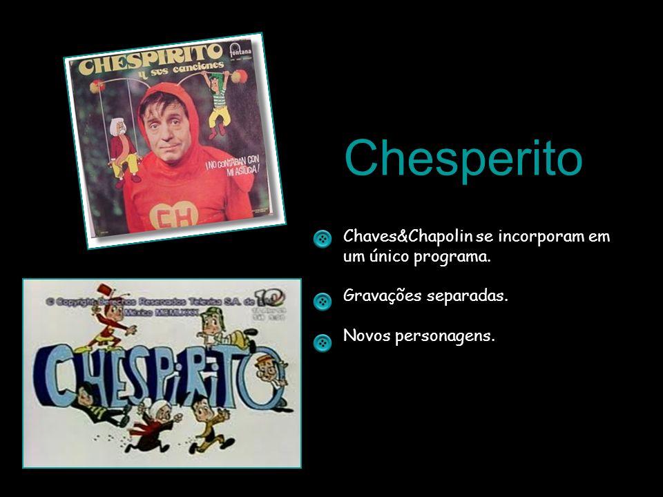Chesperito Chaves&Chapolin se incorporam em um único programa. Gravações separadas. Novos personagens.