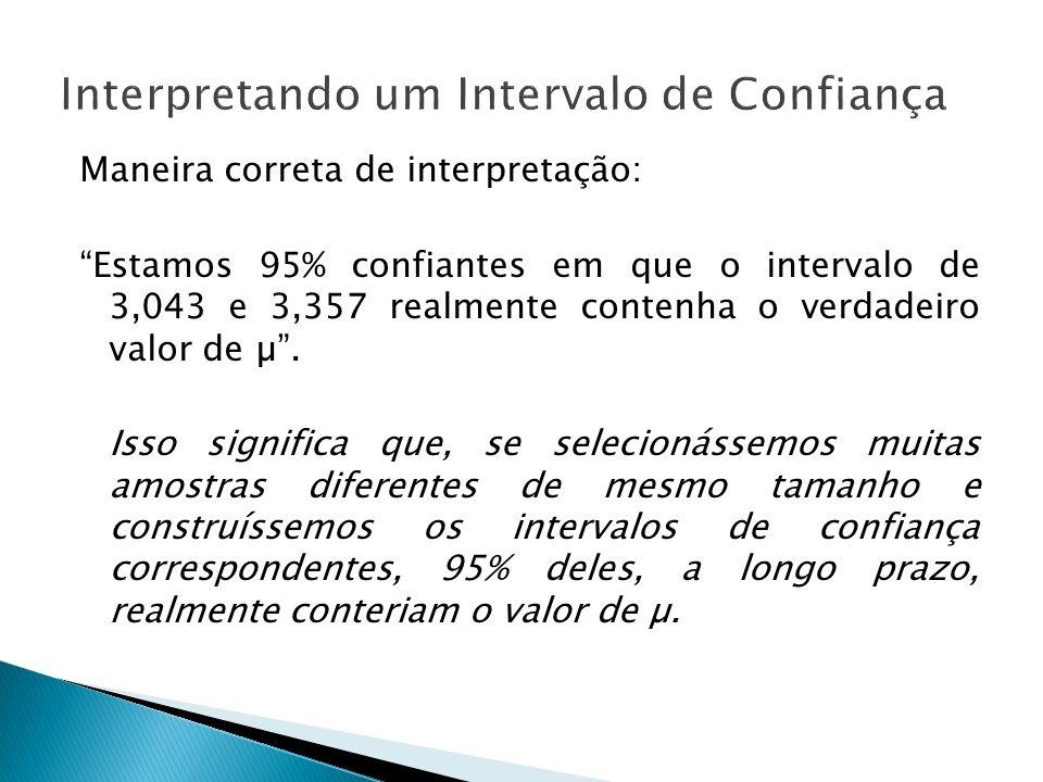 Maneira correta de interpretação: Estamos 95% confiantes em que o intervalo de 3,043 e 3,357 realmente contenha o verdadeiro valor de µ. Isso signific