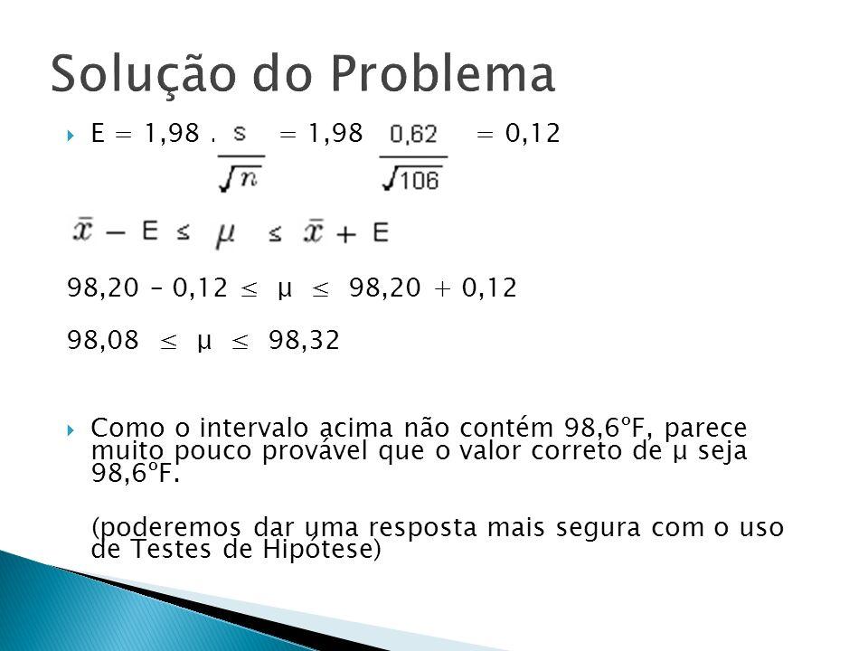 E = 1,98. = 1,98. = 0,12 98,20 – 0,12 μ 98,20 + 0,12 98,08 μ 98,32 Como o intervalo acima não contém 98,6ºF, parece muito pouco provável que o valor c