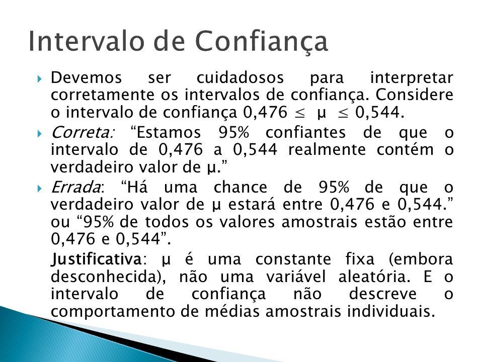 Devemos ser cuidadosos para interpretar corretamente os intervalos de confiança. Considere o intervalo de confiança 0,476 μ 0,544. Correta: Estamos 95