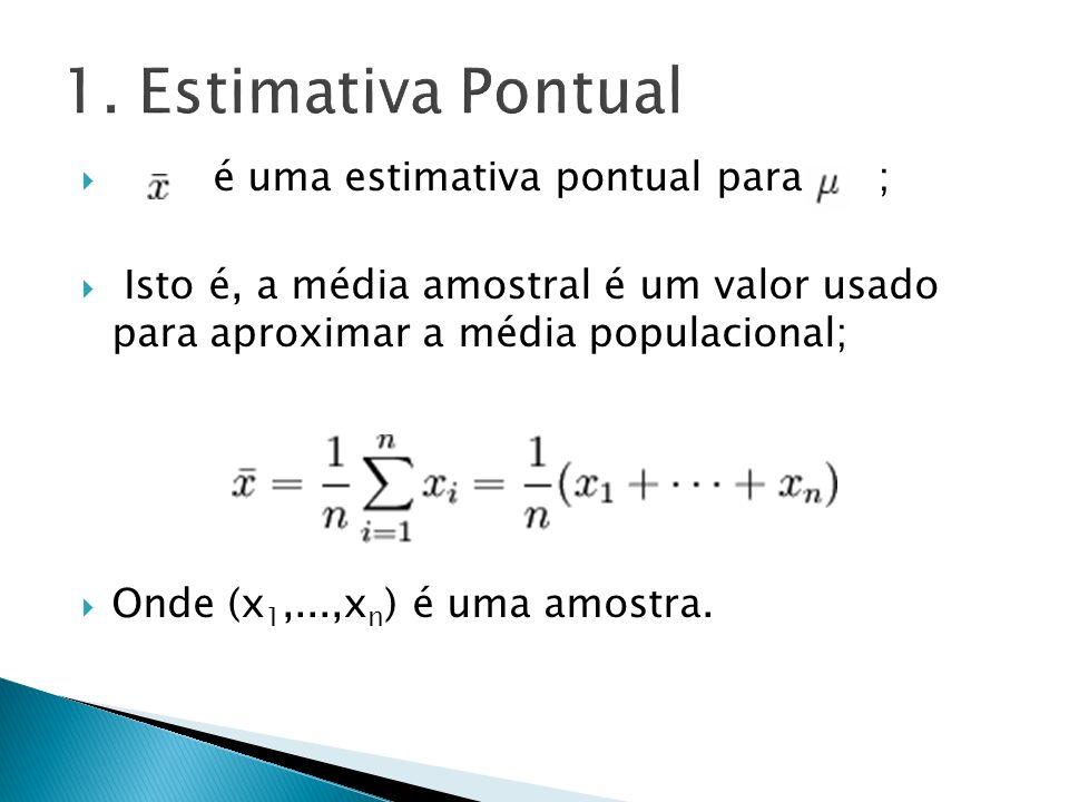 é uma estimativa pontual para ; Isto é, a média amostral é um valor usado para aproximar a média populacional; Onde (x 1,...,x n ) é uma amostra.