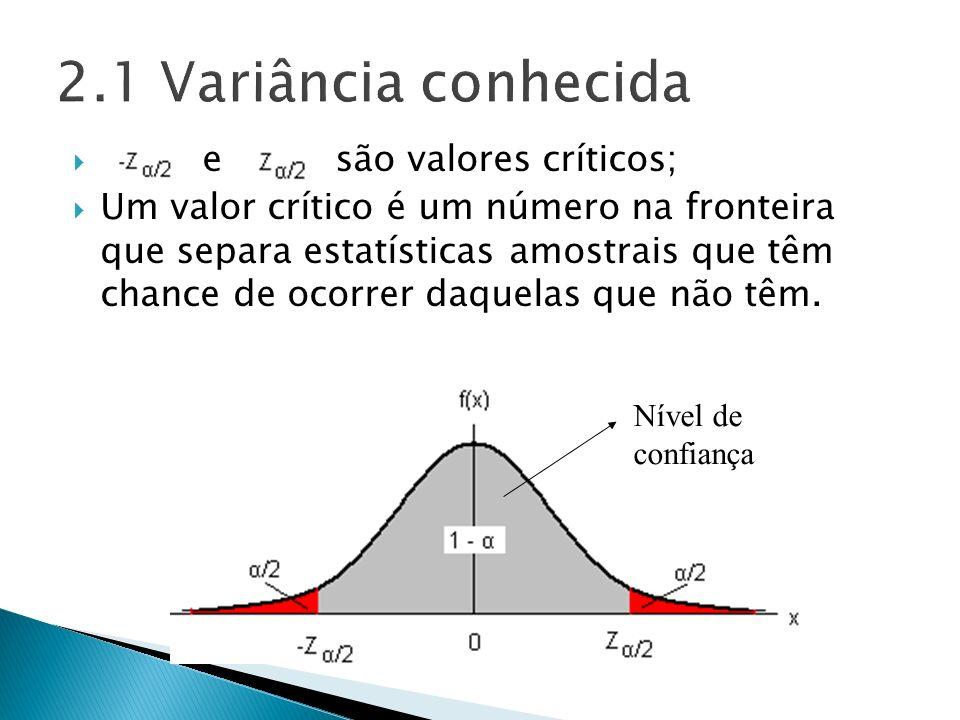 e são valores críticos; Um valor crítico é um número na fronteira que separa estatísticas amostrais que têm chance de ocorrer daquelas que não têm. Ní