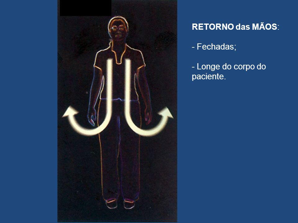 RETORNO das MÃOS: - Fechadas; - Longe do corpo do paciente.