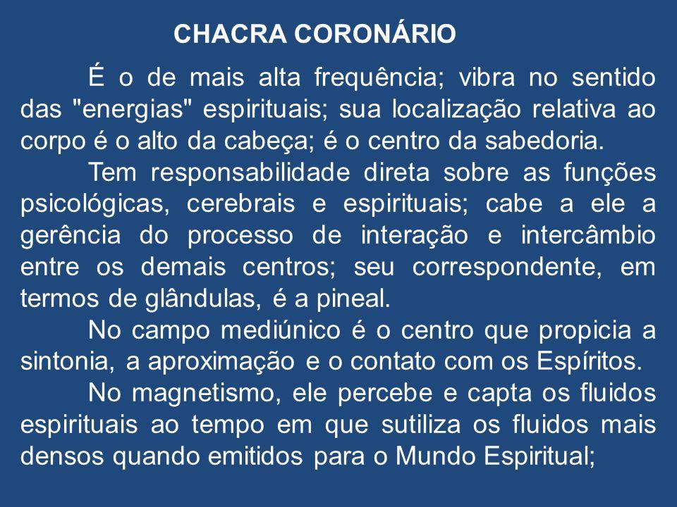CHACRA CORONÁRIO É o de mais alta frequência; vibra no sentido das energias espirituais; sua localização relativa ao corpo é o alto da cabeça; é o centro da sabedoria.