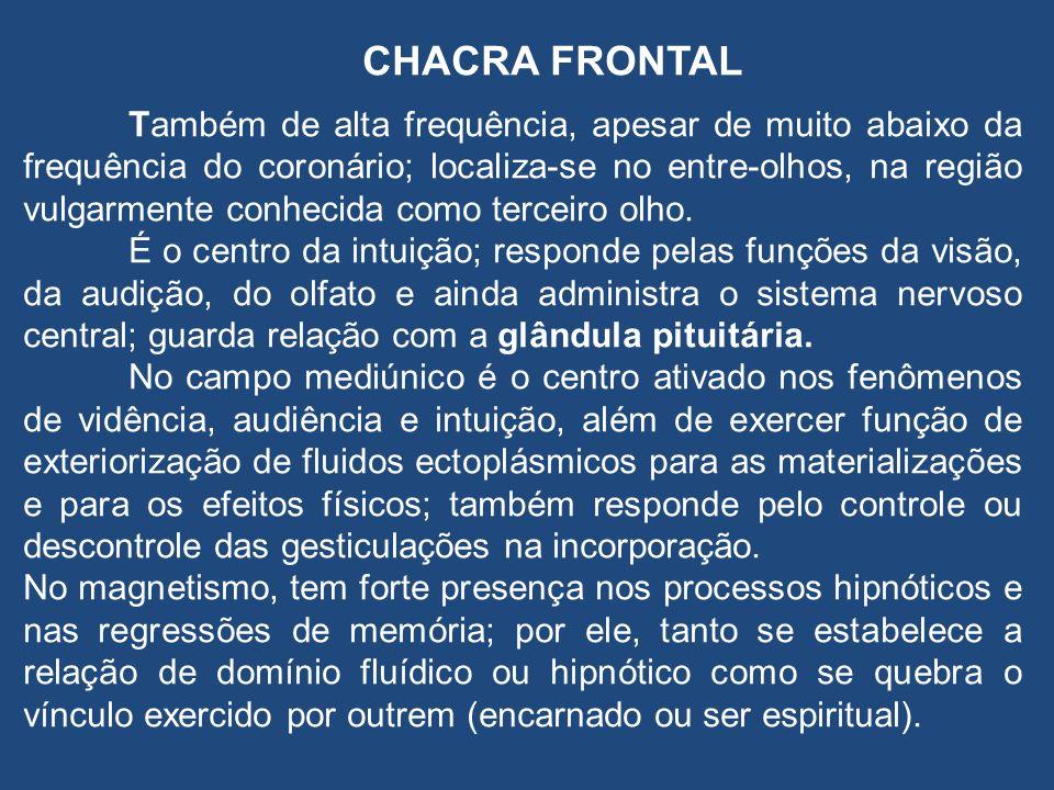 CHACRA FRONTAL Também de alta frequência, apesar de muito abaixo da frequência do coronário; localiza-se no entre-olhos, na região vulgarmente conhecida como terceiro olho.