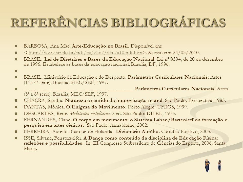 REFERÊNCIAS BIBLIOGRÁFICAS BARBOSA, Ana Mãe. Arte-Educação no Brasil. Disponível em:. Acesso em: 24/03/2010.http://www.scielo.br/pdf/ea/v3n7/v3n7a10.p