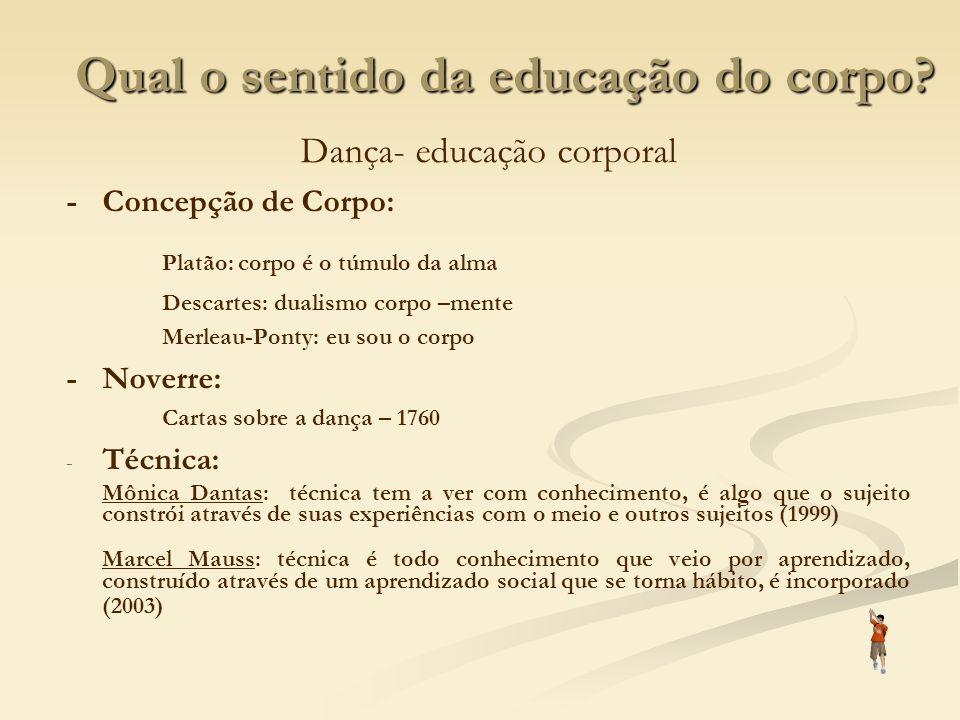 Qual o sentido da educação do corpo? Dança- educação corporal -Concepção de Corpo: Platão: corpo é o túmulo da alma Descartes: dualismo corpo –mente M