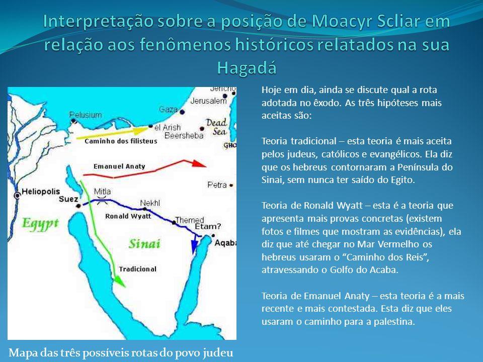 Mapa das três possíveis rotas do povo judeu Hoje em dia, ainda se discute qual a rota adotada no êxodo. As três hipóteses mais aceitas são: Teoria tra