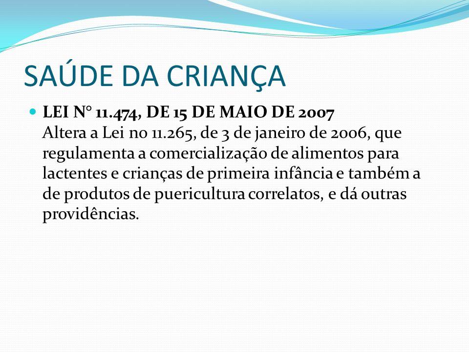 SAÚDE DA CRIANÇA LEI N° 11.474, DE 15 DE MAIO DE 2007 Altera a Lei no 11.265, de 3 de janeiro de 2006, que regulamenta a comercialização de alimentos