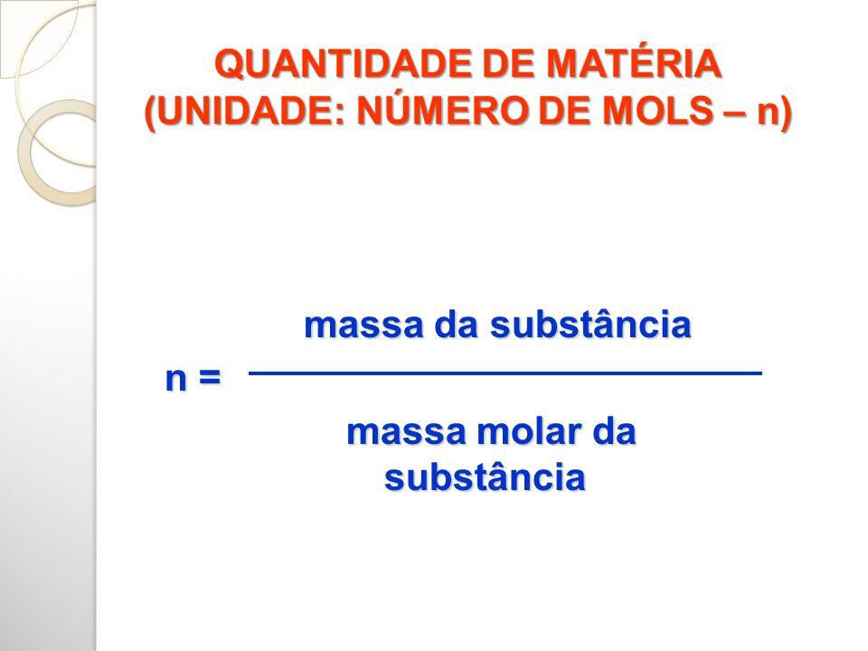 QUANTIDADE DE MATÉRIA (UNIDADE: NÚMERO DE MOLS – n) massa da substância n = massa molar da substância