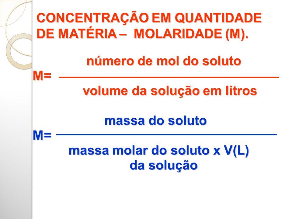 número de mol do soluto número de mol do soluto M= M= volume da solução em litros volume da solução em litros massa do soluto massa do soluto M= M= massa molar do soluto x V(L) massa molar do soluto x V(L) da solução da solução CONCENTRAÇÃO EM QUANTIDADE DE MATÉRIA – MOLARIDADE (M).