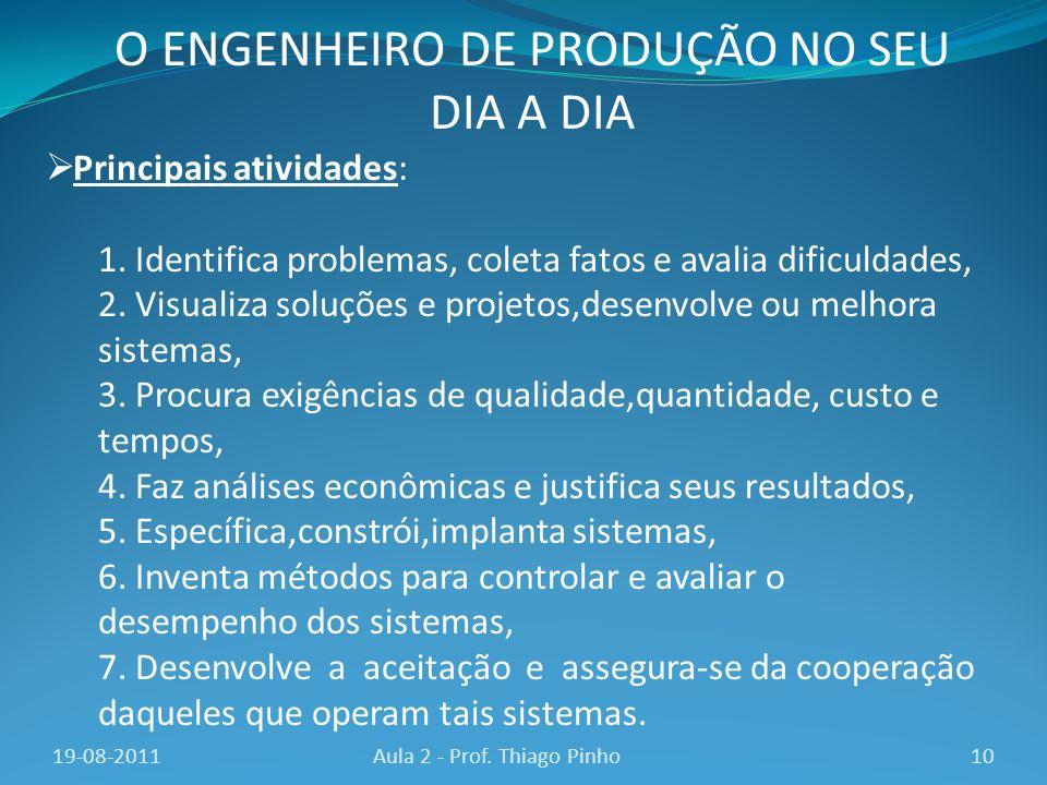 Principais atividades: 1. Identifica problemas, coleta fatos e avalia dificuldades, 2. Visualiza soluções e projetos,desenvolve ou melhora sistemas, 3