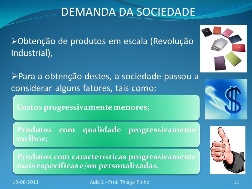 O btenção de produtos em escala (Revolução Industrial), Para a obtenção destes, a sociedade passou a considerar alguns fatores, tais como: 11Aula 2 -