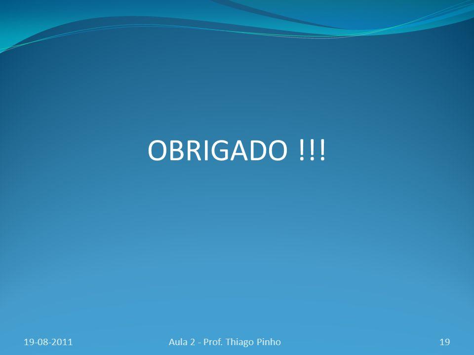 OBRIGADO !!! 19Aula 2 - Prof. Thiago Pinho19-08-2011